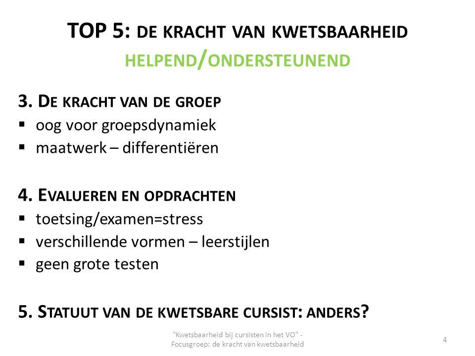 TOP 5: DE KRACHT VAN KWETSBAARHEID HELPEND / ONDERSTEUNEND 3. D E KRACHT VAN DE GROEP  oog voor groepsdynamiek  maatwerk – differentiëren 4. E VALUE