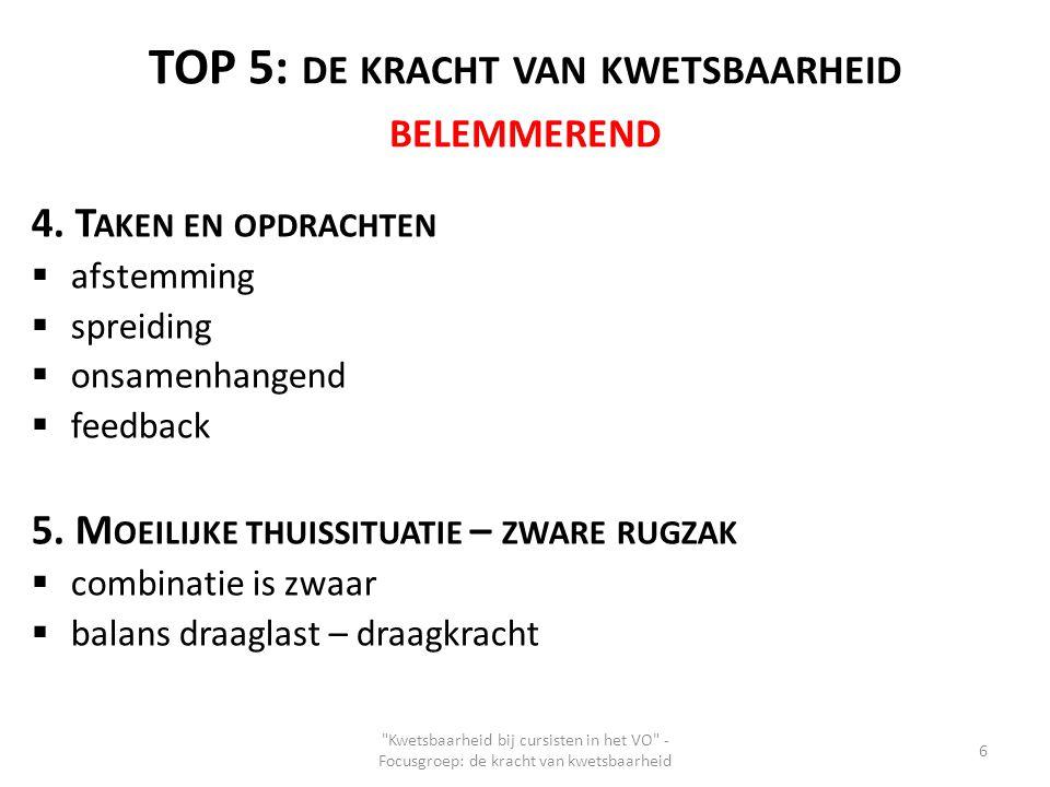 TOP 5: DE KRACHT VAN KWETSBAARHEID BELEMMEREND 4. T AKEN EN OPDRACHTEN  afstemming  spreiding  onsamenhangend  feedback 5. M OEILIJKE THUISSITUATI