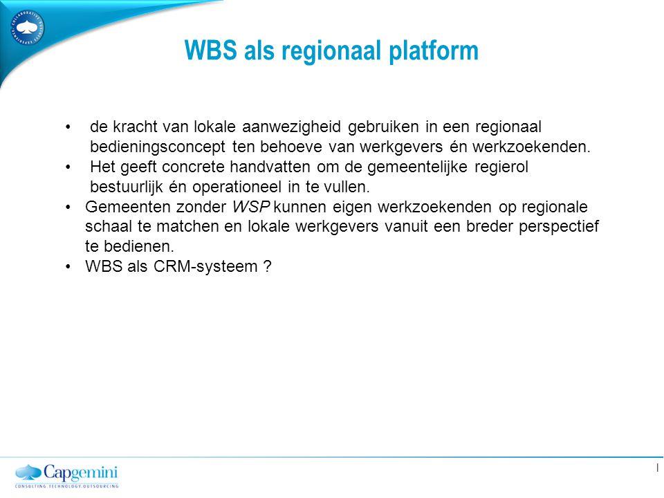 | WBS als regionaal platform de kracht van lokale aanwezigheid gebruiken in een regionaal bedieningsconcept ten behoeve van werkgevers én werkzoekende