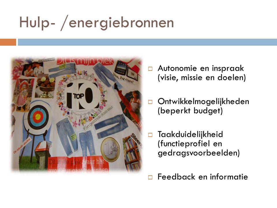 Hulp- /energiebronnen  Autonomie en inspraak (visie, missie en doelen)  Ontwikkelmogelijkheden (beperkt budget)  Taakduidelijkheid (functieprofiel en gedragsvoorbeelden)  Feedback en informatie