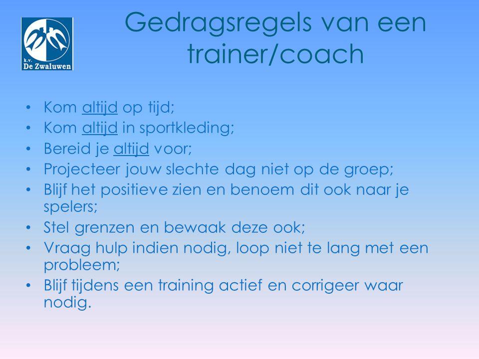 Gedragsregels van een trainer/coach Kom altijd op tijd; Kom altijd in sportkleding; Bereid je altijd voor; Projecteer jouw slechte dag niet op de groe