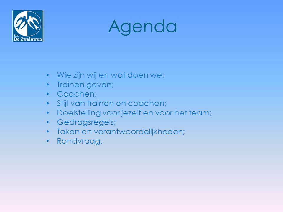 Agenda Wie zijn wij en wat doen we; Trainen geven; Coachen; Stijl van trainen en coachen; Doelstelling voor jezelf en voor het team; Gedragsregels; Ta