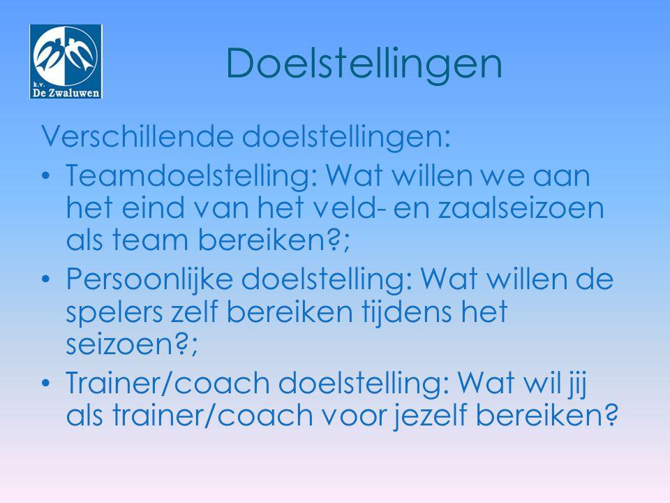 Doelstellingen Verschillende doelstellingen: Teamdoelstelling: Wat willen we aan het eind van het veld- en zaalseizoen als team bereiken?; Persoonlijk
