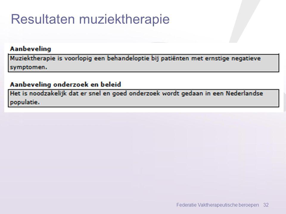Resultaten muziektherapie Federatie Vaktherapeutische beroepen 31