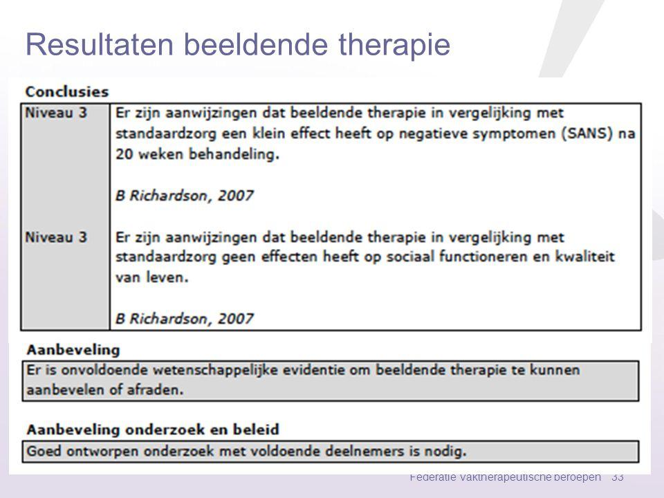 Resultaten muziektherapie Federatie Vaktherapeutische beroepen 32