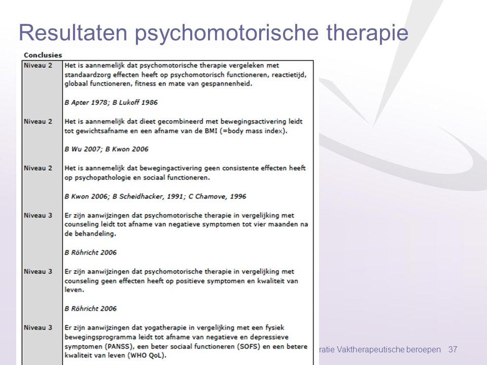 Resultaten psychomotorische therapie V3 Federatie Vaktherapeutische beroepen 36