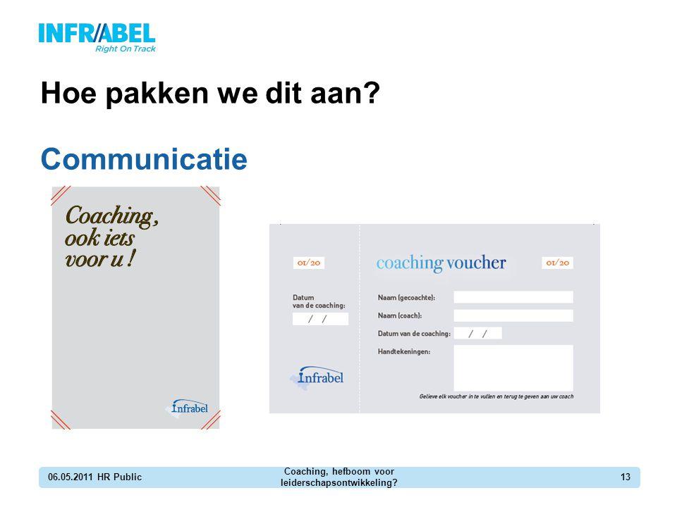 Hoe pakken we dit aan? Communicatie 06.05.2011 HR Public Coaching, hefboom voor leiderschapsontwikkeling? 13