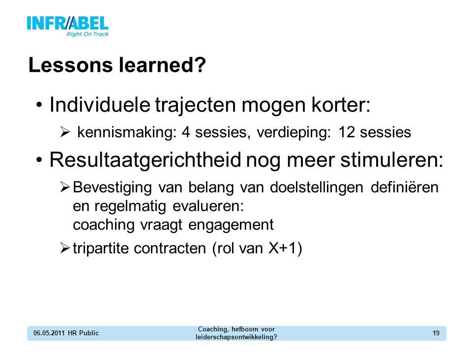 Lessons learned? 06.05.2011 HR Public Coaching, hefboom voor leiderschapsontwikkeling? 19 Individuele trajecten mogen korter:  kennismaking: 4 sessie