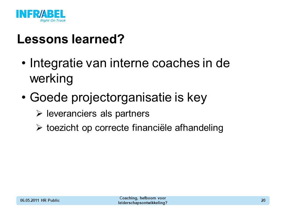 Lessons learned? 06.05.2011 HR Public Coaching, hefboom voor leiderschapsontwikkeling? 20 Integratie van interne coaches in de werking Goede projector