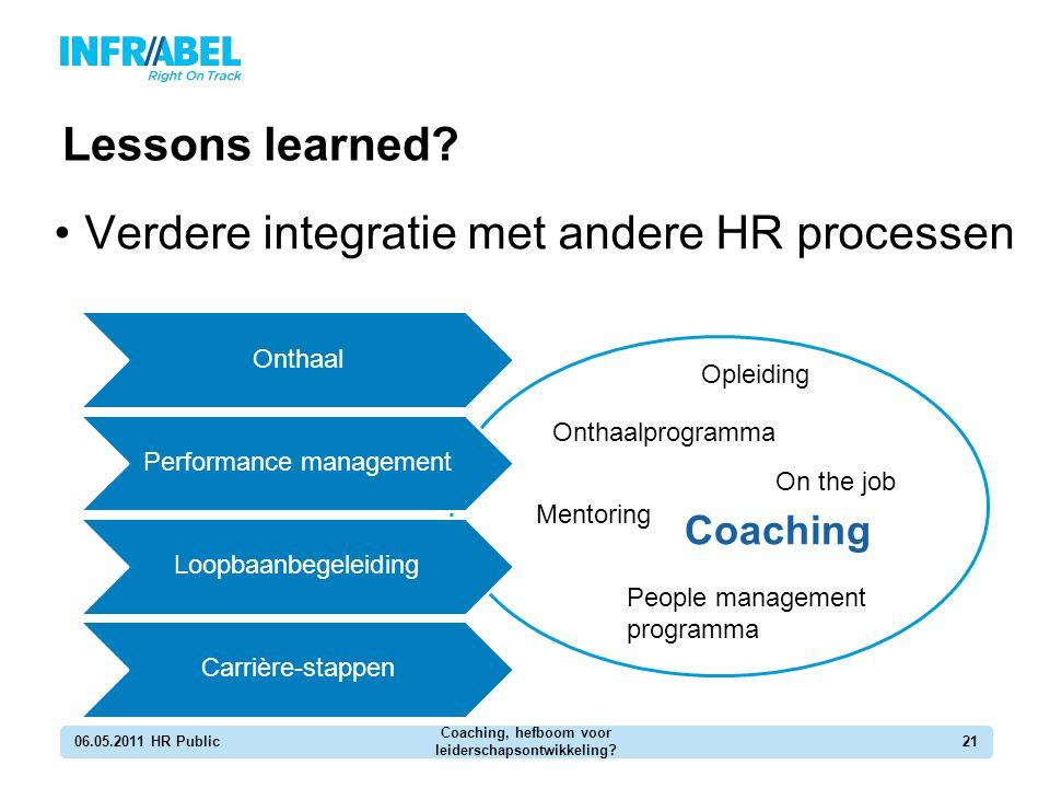 Lessons learned? 06.05.2011 HR Public Coaching, hefboom voor leiderschapsontwikkeling? 21 Verdere integratie met andere HR processen Opleiding Coachin