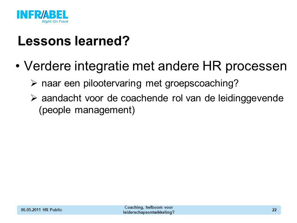 Lessons learned? 06.05.2011 HR Public Coaching, hefboom voor leiderschapsontwikkeling? 22 Verdere integratie met andere HR processen  naar een piloot