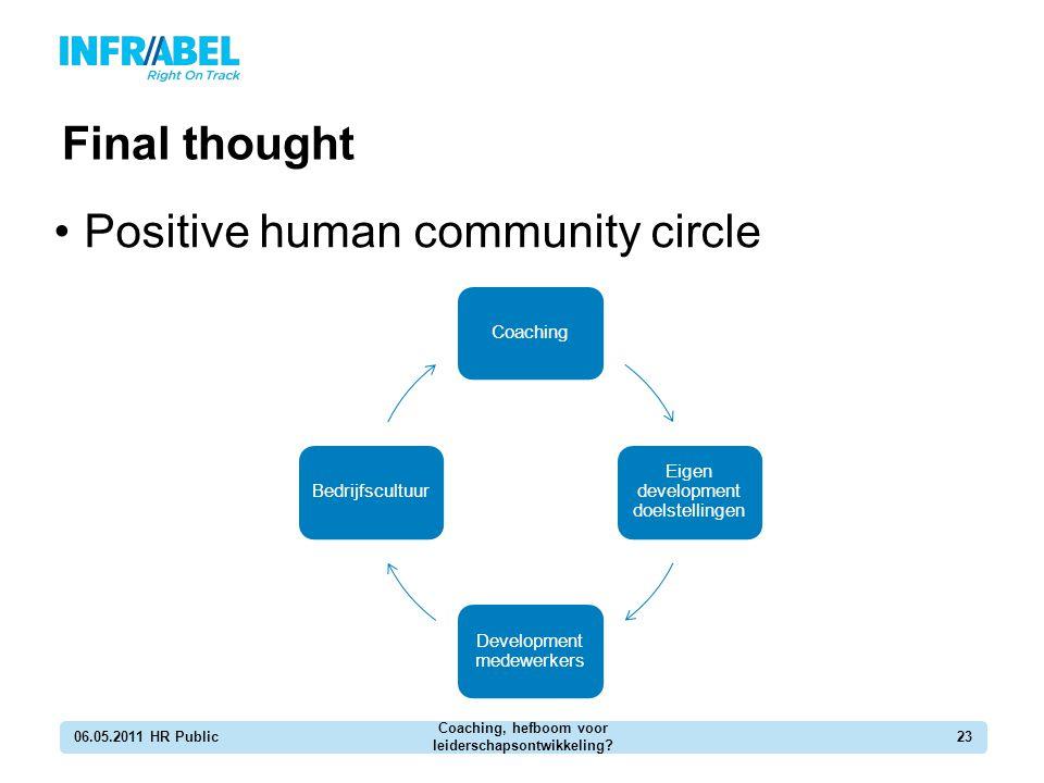 Final thought 06.05.2011 HR Public Coaching, hefboom voor leiderschapsontwikkeling? 23 Positive human community circle Coaching Eigen development doel