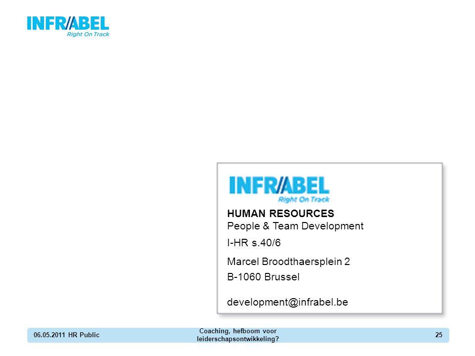06.05.2011 HR Public Coaching, hefboom voor leiderschapsontwikkeling? 25 HUMAN RESOURCES People & Team Development I-HR s.40/6 Marcel Broodthaersplein