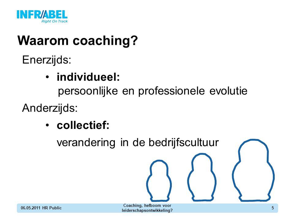 Enerzijds: individueel: persoonlijke en professionele evolutie Anderzijds: collectief: verandering in de bedrijfscultuur Waarom coaching? 06.05.2011 H