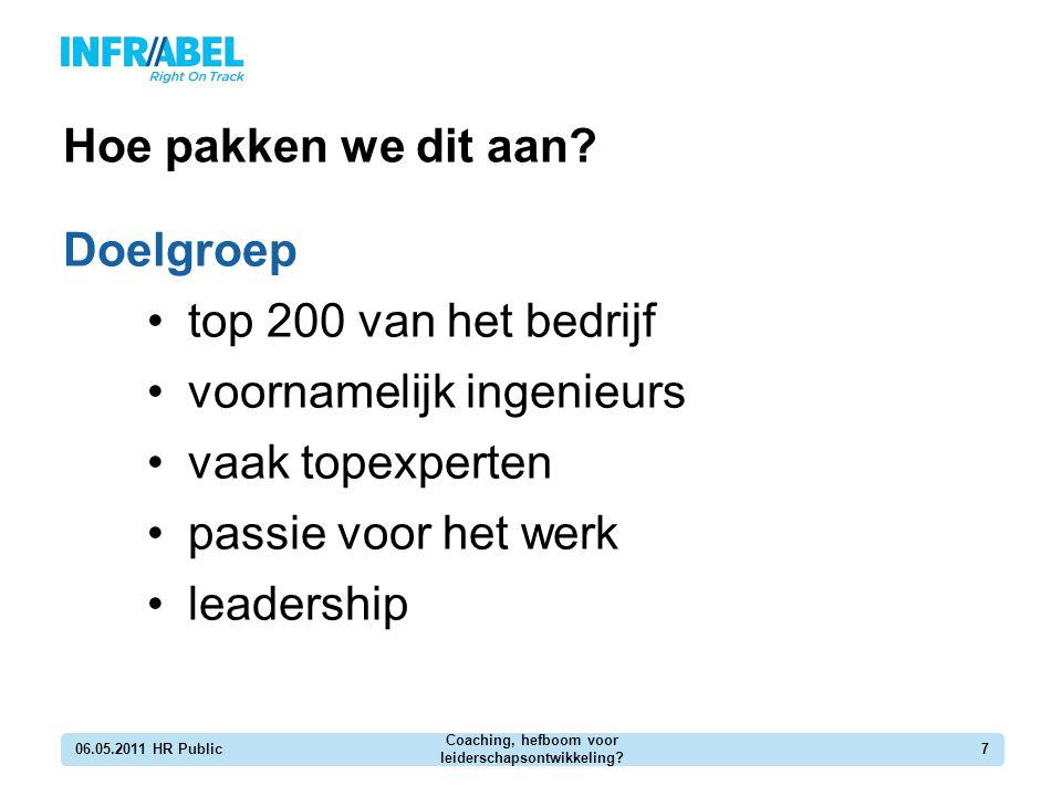 Hoe pakken we dit aan? Doelgroep top 200 van het bedrijf voornamelijk ingenieurs vaak topexperten passie voor het werk leadership 06.05.2011 HR Public