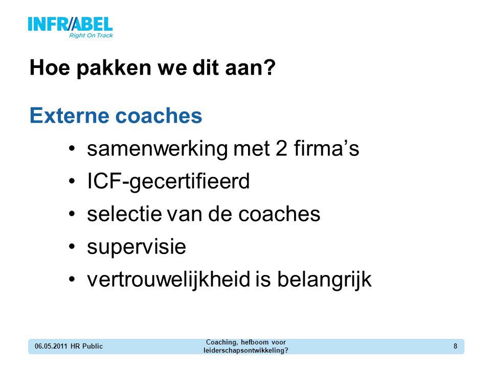 Hoe pakken we dit aan? Externe coaches samenwerking met 2 firma's ICF-gecertifieerd selectie van de coaches supervisie vertrouwelijkheid is belangrijk