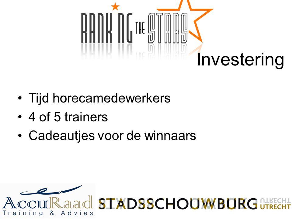 Investering Tijd horecamedewerkers 4 of 5 trainers Cadeautjes voor de winnaars