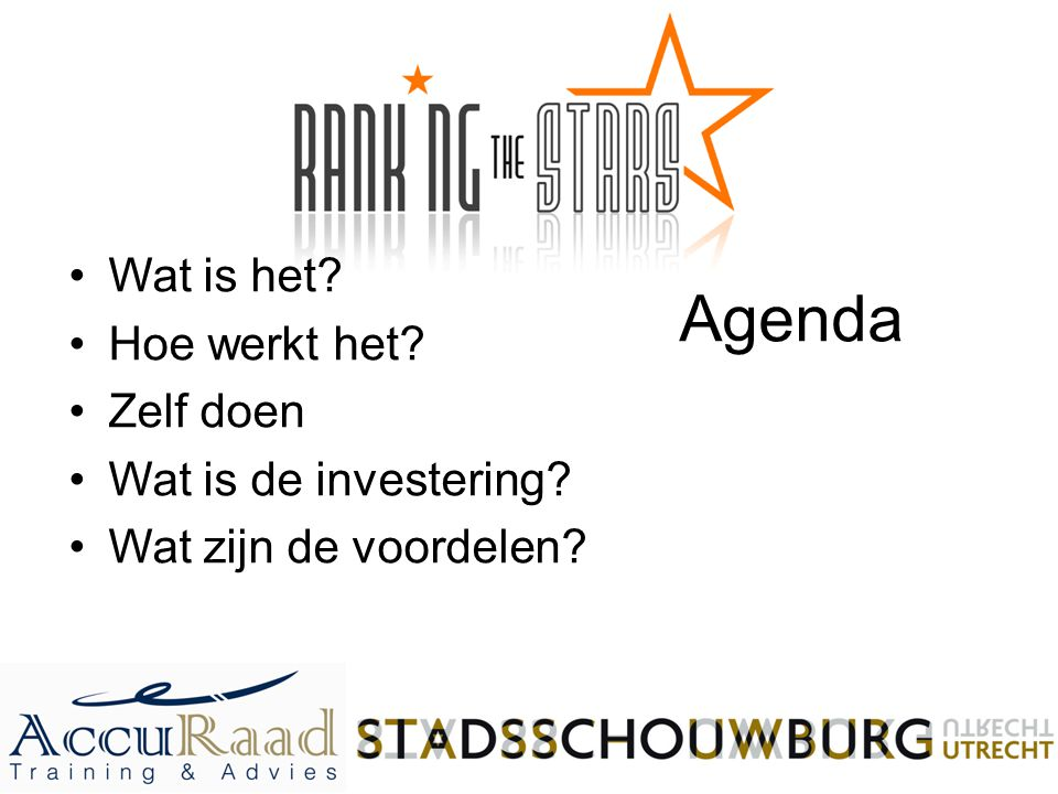 Agenda Wat is het? Hoe werkt het? Zelf doen Wat is de investering? Wat zijn de voordelen?