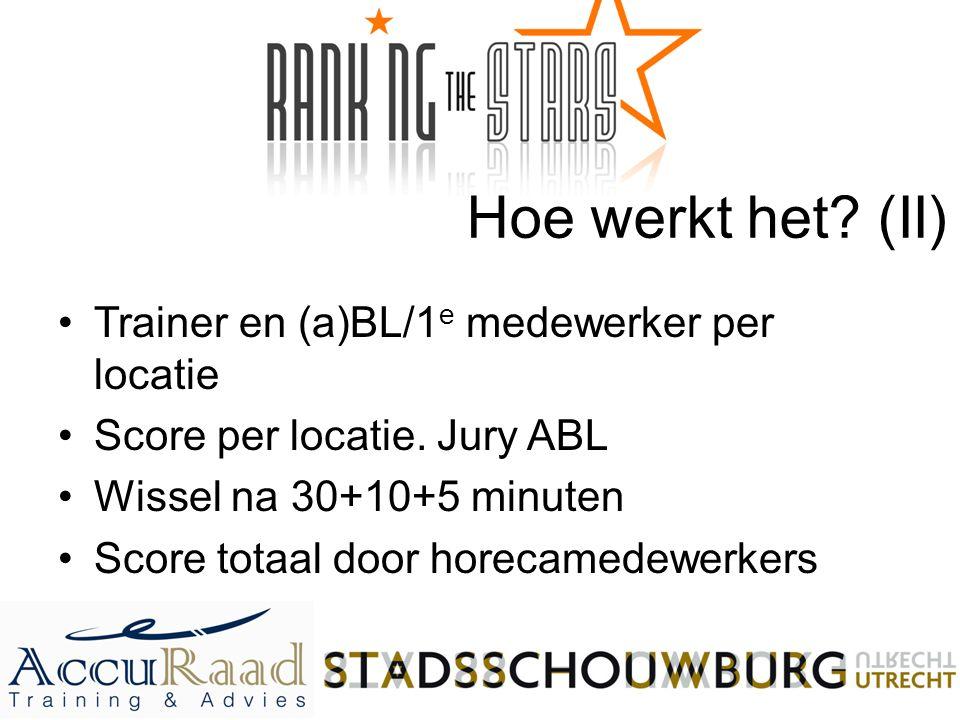 Hoe werkt het? (II) Trainer en (a)BL/1 e medewerker per locatie Score per locatie. Jury ABL Wissel na 30+10+5 minuten Score totaal door horecamedewerk
