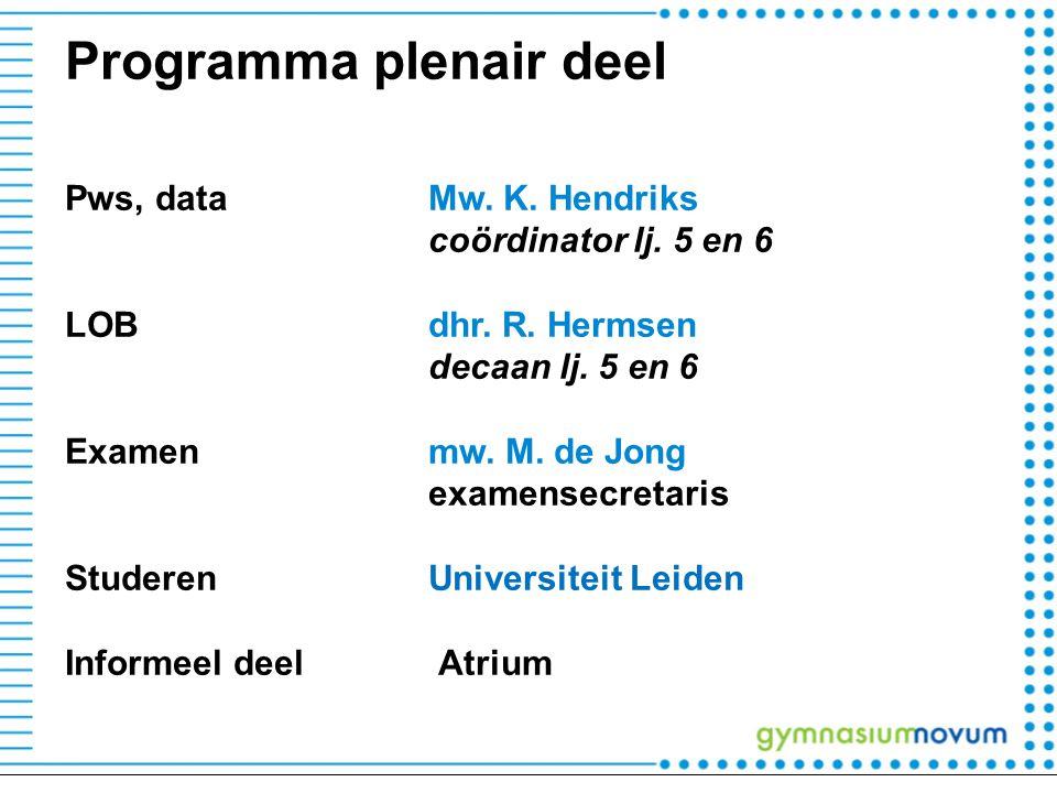 Programma plenair deel Pws, dataMw. K. Hendriks coördinator lj. 5 en 6 LOBdhr. R. Hermsen decaan lj. 5 en 6 Examenmw. M. de Jong examensecretaris Stud