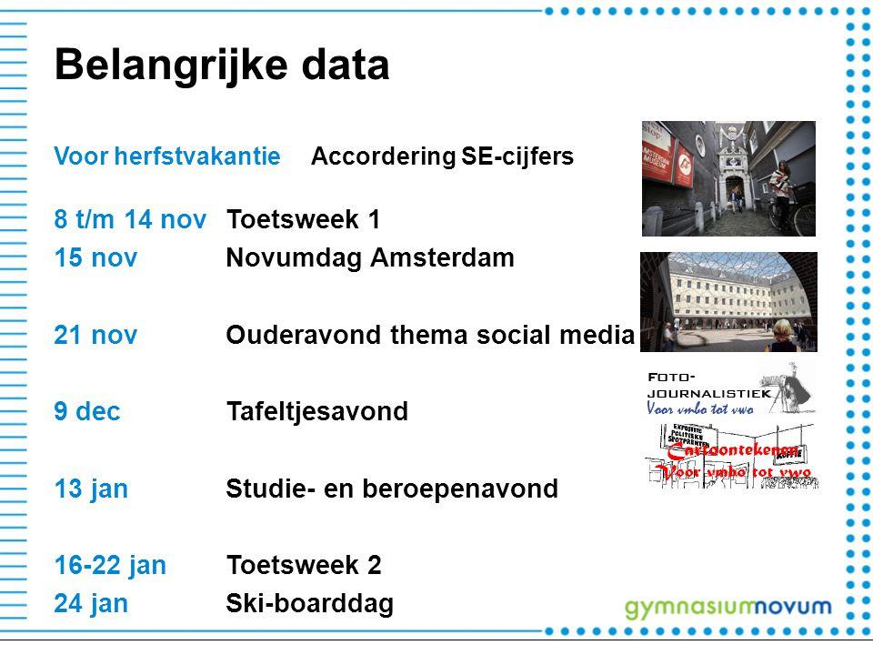 Belangrijke data Voor herfstvakantieAccordering SE-cijfers 8 t/m 14 novToetsweek 1 15 novNovumdag Amsterdam 21 novOuderavond thema social media 9 decTafeltjesavond 13 janStudie- en beroepenavond 16-22 janToetsweek 2 24 janSki-boarddag