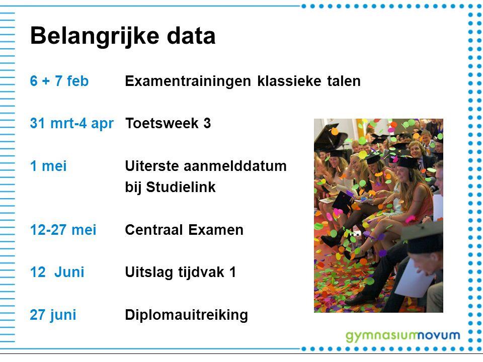 Belangrijke data 6 + 7 febExamentrainingen klassieke talen 31 mrt-4 aprToetsweek 3 1 meiUiterste aanmelddatum bij Studielink 12-27 mei Centraal Examen