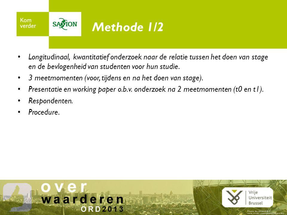 Methode 2/2 Meetinstrumenten – Bevlogenheid voor de studie : Schaufelli & Bakker (2003).
