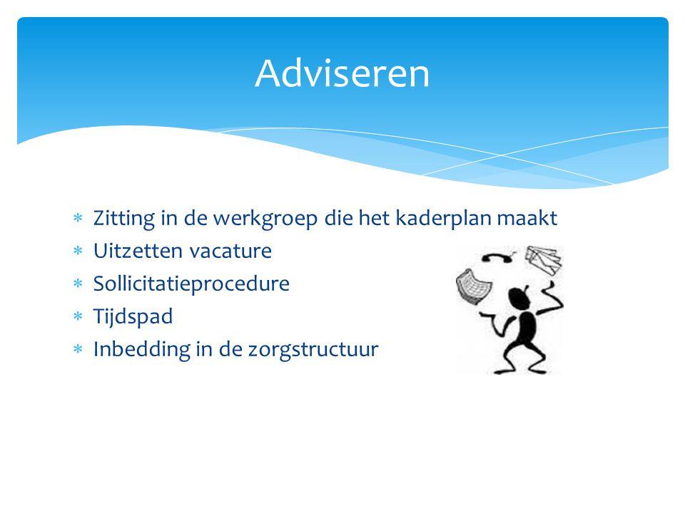  Zitting in de werkgroep die het kaderplan maakt  Uitzetten vacature  Sollicitatieprocedure  Tijdspad  Inbedding in de zorgstructuur Adviseren