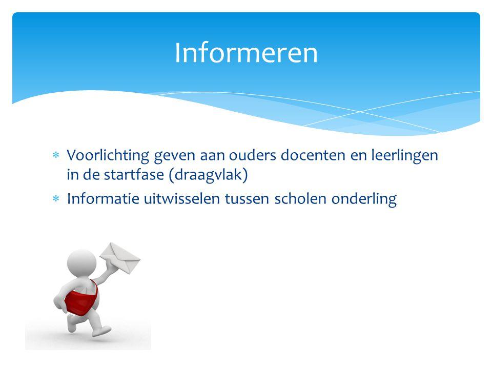  Voorlichting geven aan ouders docenten en leerlingen in de startfase (draagvlak)  Informatie uitwisselen tussen scholen onderling Informeren