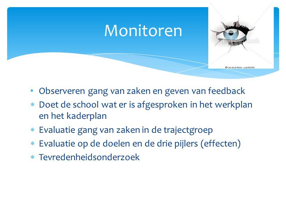 Observeren gang van zaken en geven van feedback  Doet de school wat er is afgesproken in het werkplan en het kaderplan  Evaluatie gang van zaken in