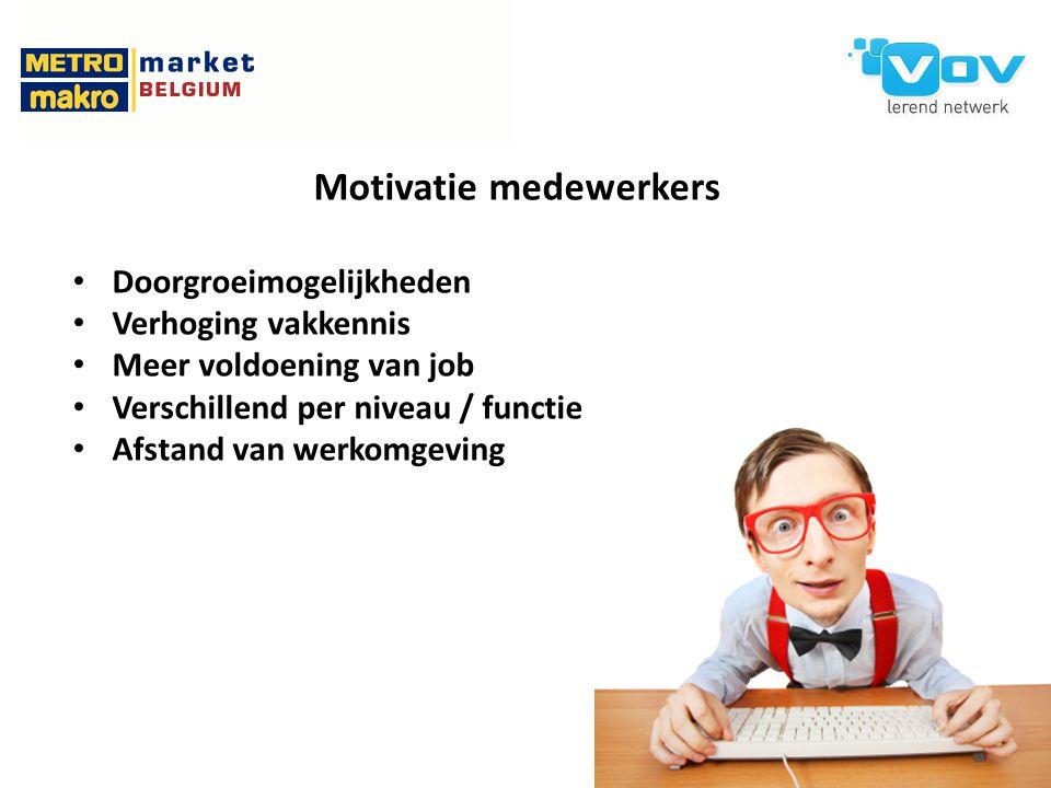 Motivatie medewerkers Doorgroeimogelijkheden Verhoging vakkennis Meer voldoening van job Verschillend per niveau / functie Afstand van werkomgeving