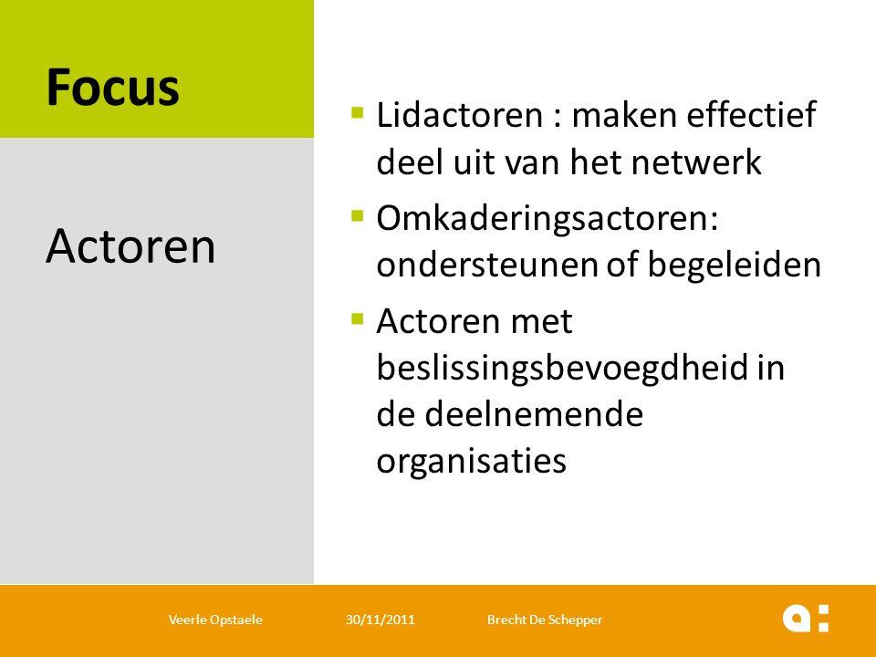 Focus  Lidactoren : maken effectief deel uit van het netwerk  Omkaderingsactoren: ondersteunen of begeleiden  Actoren met beslissingsbevoegdheid in