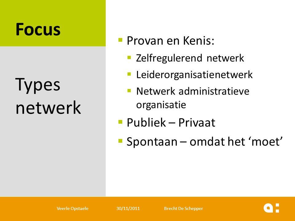 Focus  Provan en Kenis:  Zelfregulerend netwerk  Leiderorganisatienetwerk  Netwerk administratieve organisatie  Publiek – Privaat  Spontaan – om