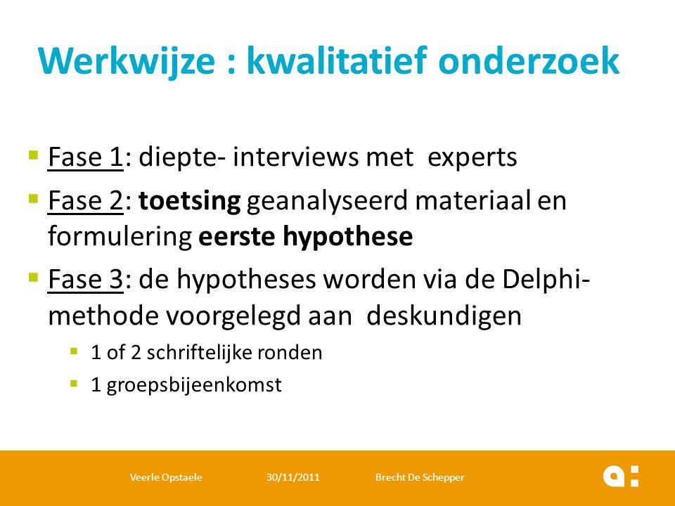  Fase 1: diepte- interviews met experts  Fase 2: toetsing geanalyseerd materiaal en formulering eerste hypothese  Fase 3: de hypotheses worden via