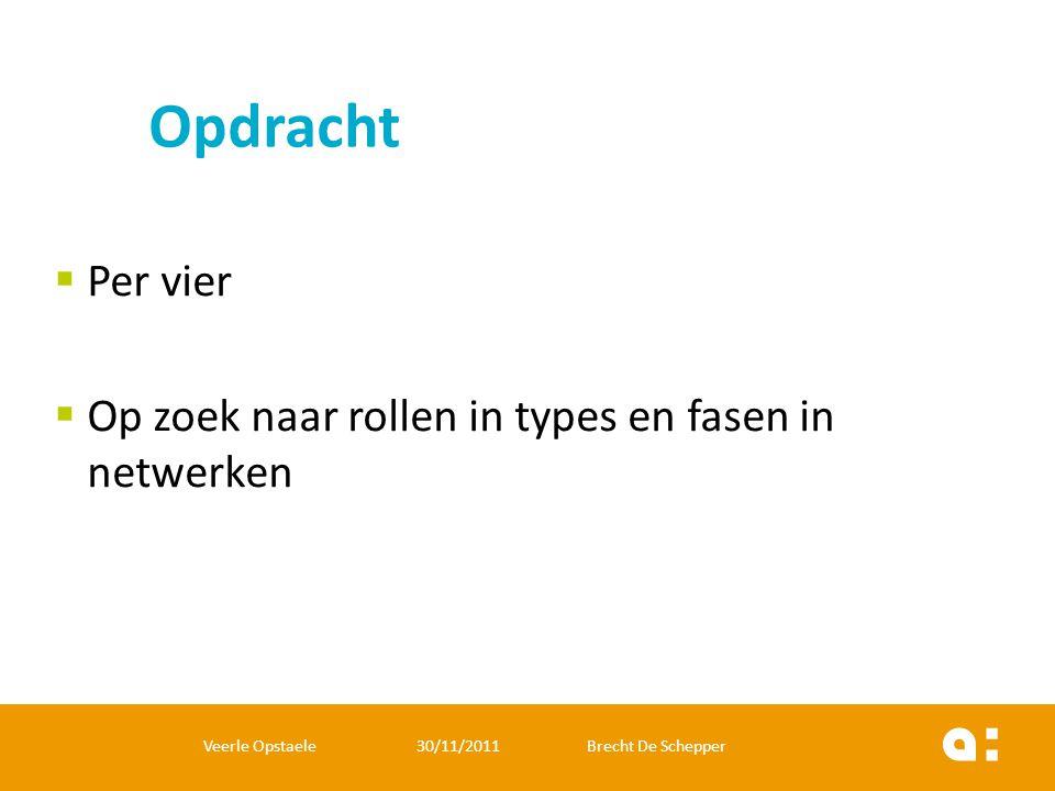  Per vier  Op zoek naar rollen in types en fasen in netwerken Veerle Opstaele 30/11/2011 Brecht De Schepper Opdracht