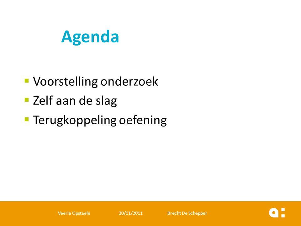  Voorstelling onderzoek  Zelf aan de slag  Terugkoppeling oefening Veerle Opstaele 30/11/2011 Brecht De Schepper Agenda