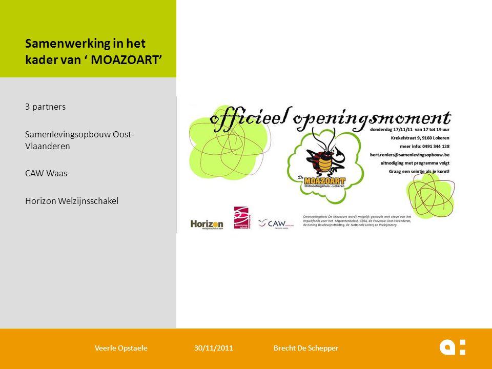 Samenwerking in het kader van ' MOAZOART' 3 partners Samenlevingsopbouw Oost- Vlaanderen CAW Waas Horizon Welzijnsschakel Veerle Opstaele 30/11/2011 B