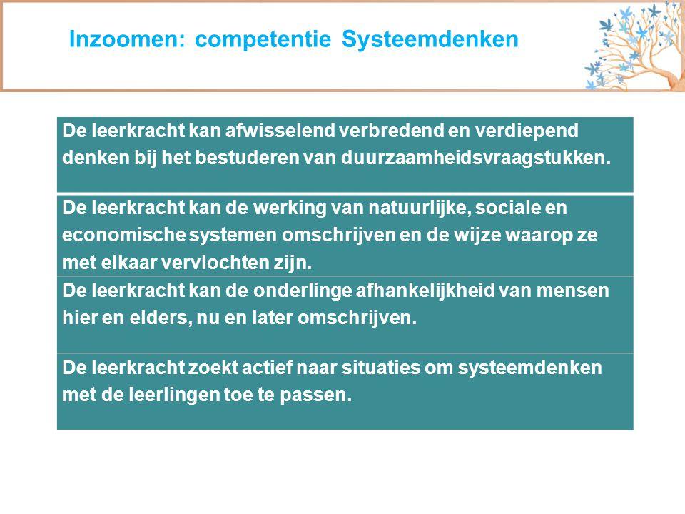 Inzoomen: competentie Systeemdenken De leerkracht kan afwisselend verbredend en verdiepend denken bij het bestuderen van duurzaamheidsvraagstukken. De