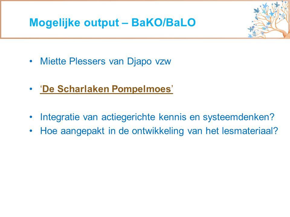 Miette Plessers van Djapo vzw 'De Scharlaken Pompelmoes''De Scharlaken Pompelmoes' Integratie van actiegerichte kennis en systeemdenken? Hoe aangepakt