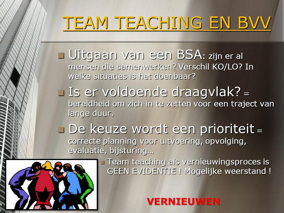 TEAM TEACHING EN BVV Uitgaan van een BSA : zijn er al mensen die samenwerken? Verschil KO/LO? In welke situaties is het doenbaar? Uitgaan van een BSA