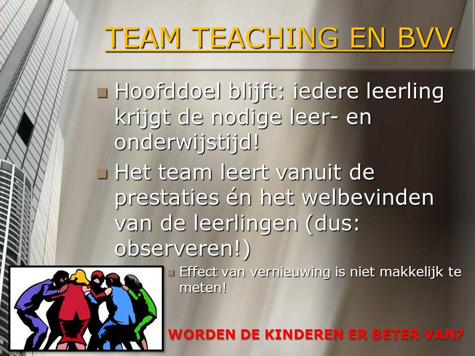 TEAM TEACHING EN BVV Hoofddoel blijft: iedere leerling krijgt de nodige leer- en onderwijstijd! Hoofddoel blijft: iedere leerling krijgt de nodige lee