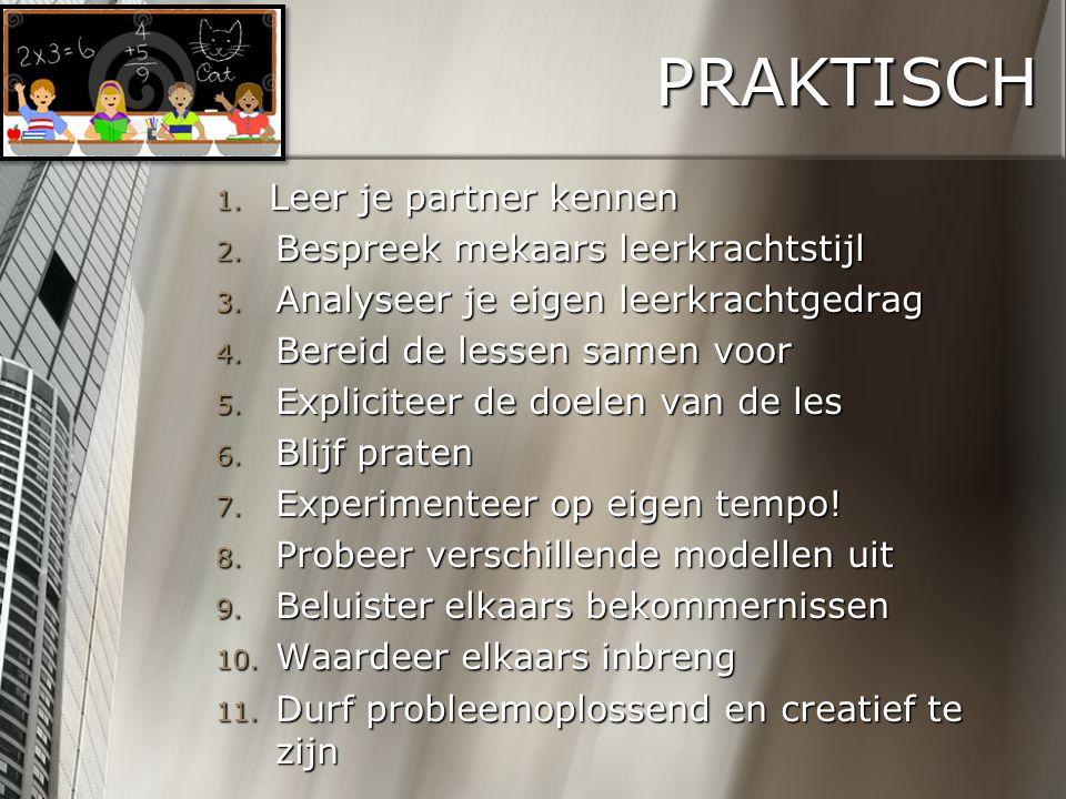PRAKTISCH 1. Leer je partner kennen 2. Bespreek mekaars leerkrachtstijl 3. Analyseer je eigen leerkrachtgedrag 4. Bereid de lessen samen voor 5. Expli