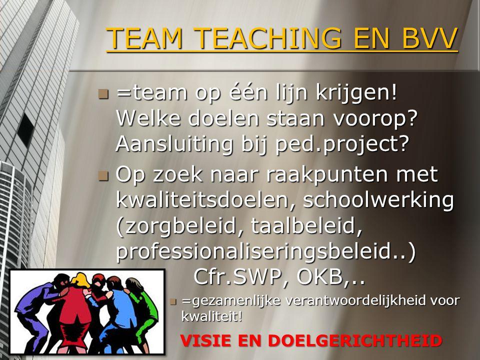 TEAM TEACHING EN BVV =team op één lijn krijgen! Welke doelen staan voorop? Aansluiting bij ped.project? =team op één lijn krijgen! Welke doelen staan