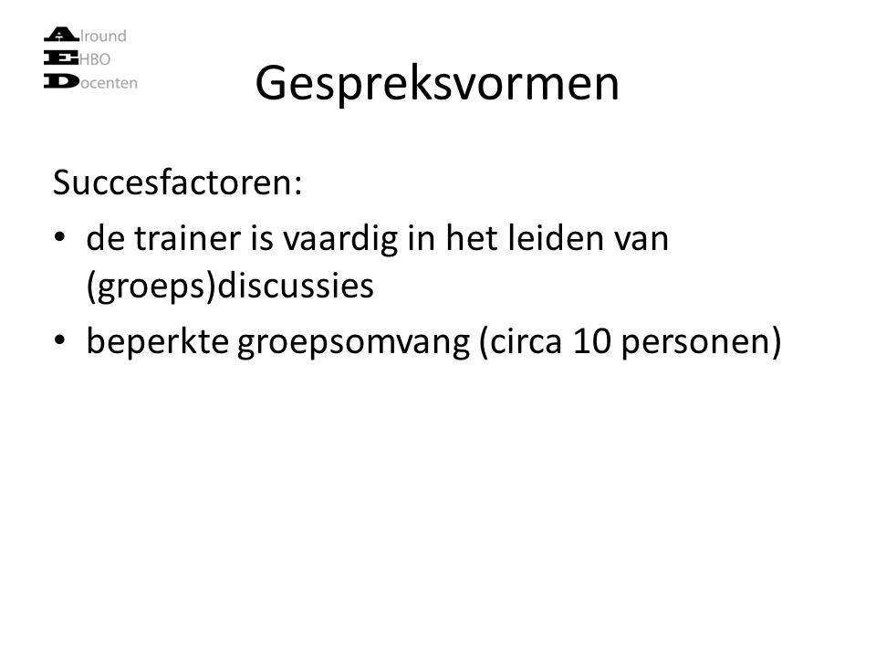 Gespreksvormen Succesfactoren: de trainer is vaardig in het leiden van (groeps)discussies beperkte groepsomvang (circa 10 personen)
