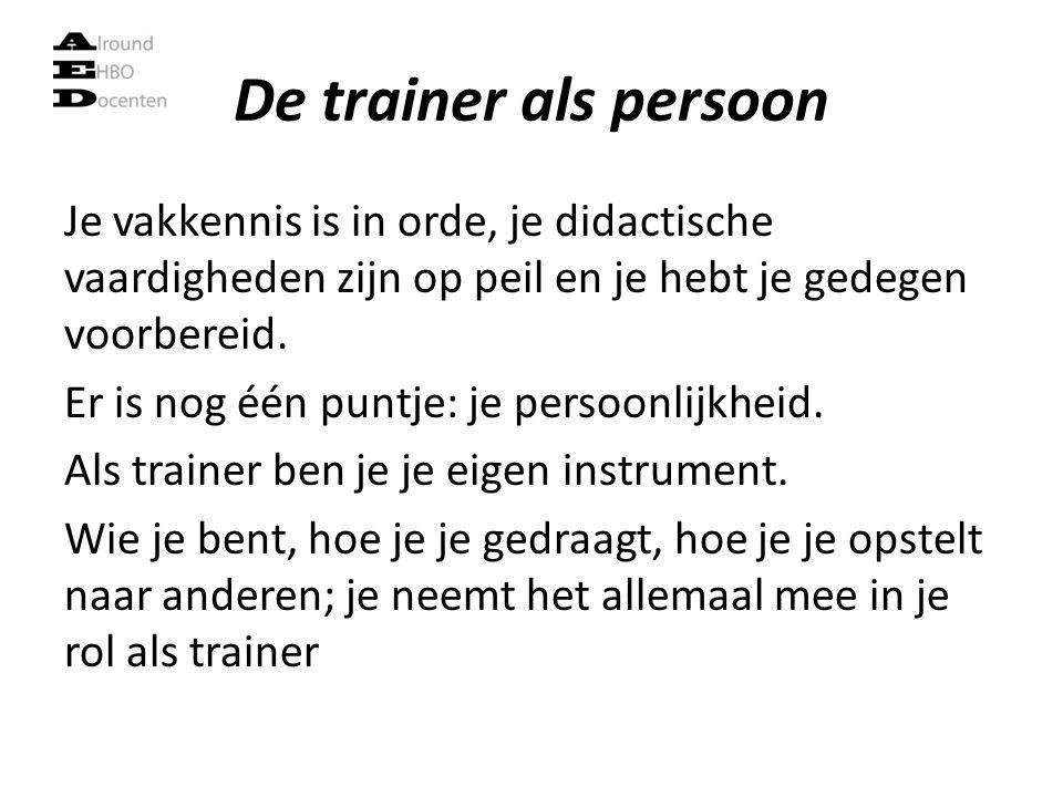 De trainer als persoon Je vakkennis is in orde, je didactische vaardigheden zijn op peil en je hebt je gedegen voorbereid. Er is nog één puntje: je pe