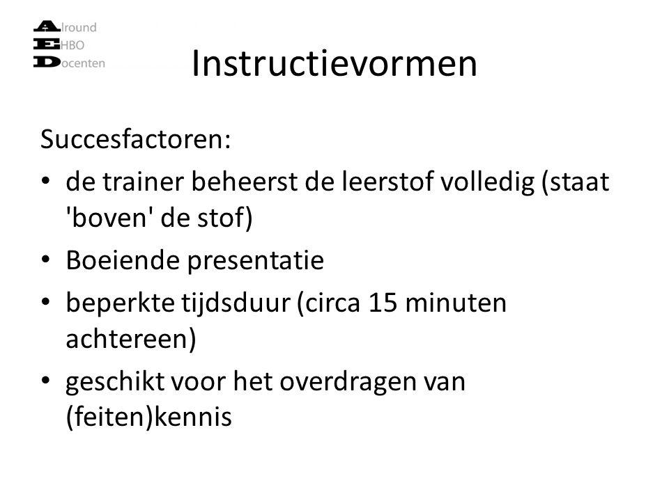 Instructievormen Succesfactoren: de trainer beheerst de leerstof volledig (staat 'boven' de stof) Boeiende presentatie beperkte tijdsduur (circa 15 mi