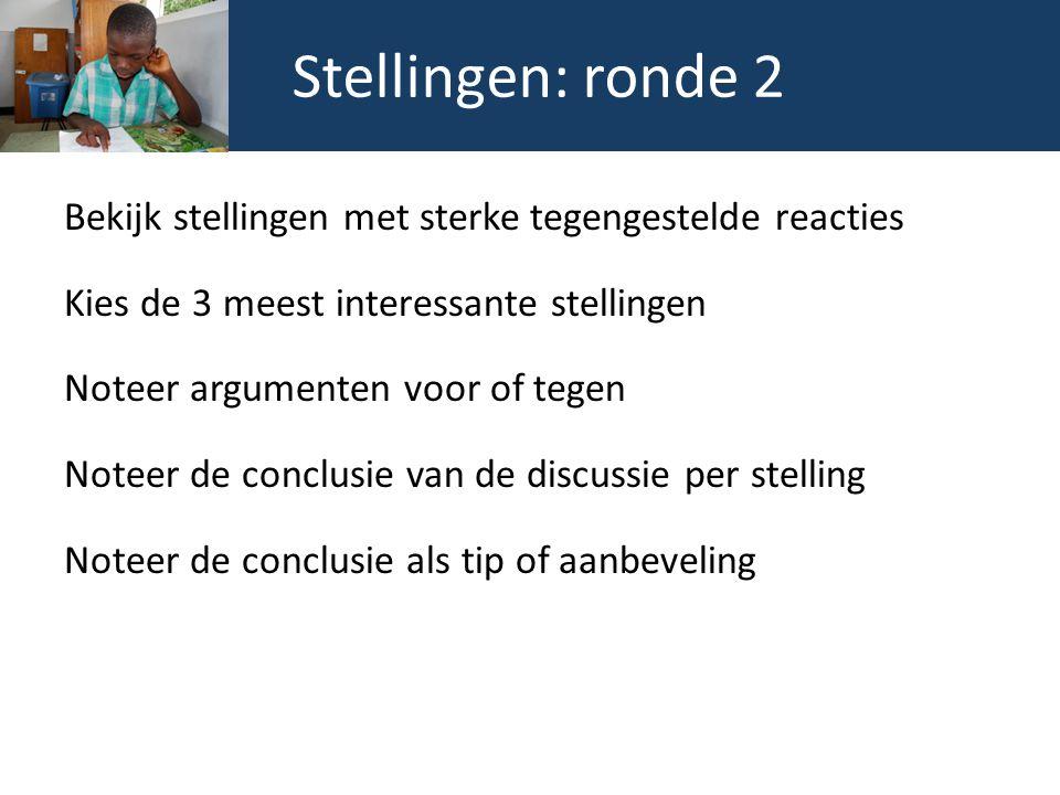 Stellingen: ronde 2 Bekijk stellingen met sterke tegengestelde reacties Kies de 3 meest interessante stellingen Noteer argumenten voor of tegen Noteer de conclusie van de discussie per stelling Noteer de conclusie als tip of aanbeveling