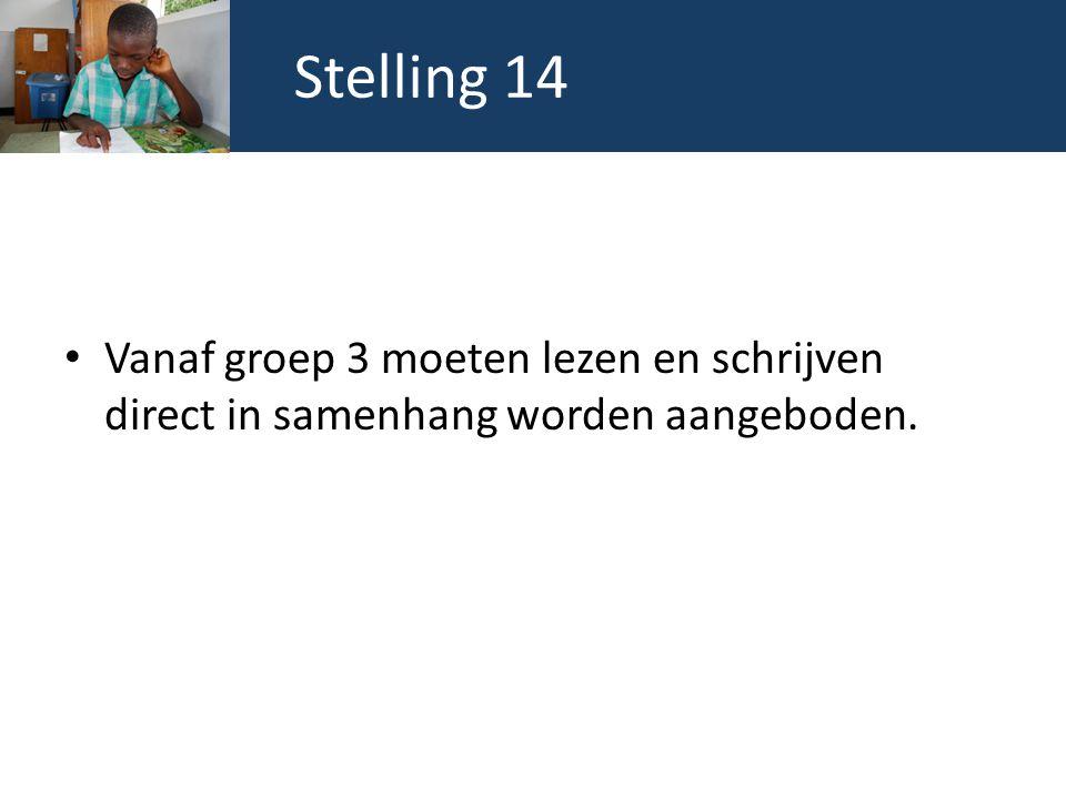 Stelling 14 Vanaf groep 3 moeten lezen en schrijven direct in samenhang worden aangeboden.