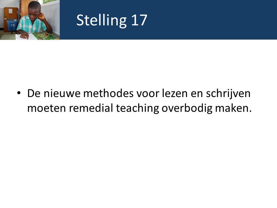 Stelling 17 De nieuwe methodes voor lezen en schrijven moeten remedial teaching overbodig maken.