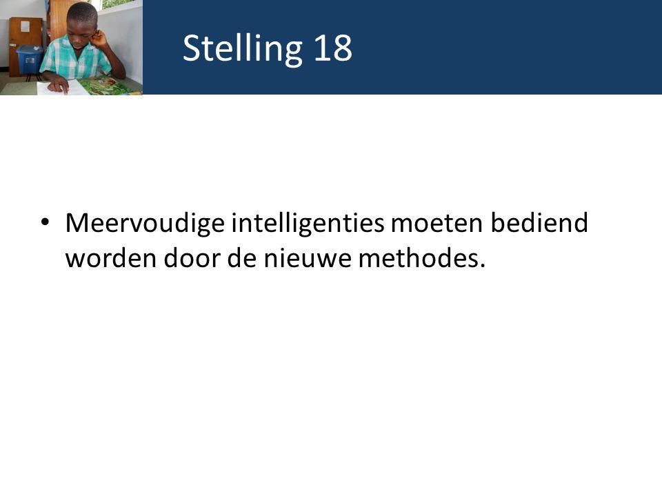 Stelling 18 Meervoudige intelligenties moeten bediend worden door de nieuwe methodes.